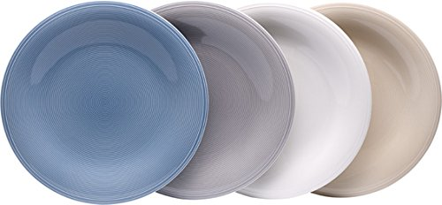 vivo by Villeroy & Boch Group Color Loop Speiseteller, 4er Set, Durchmesser 30 cm, Premium Porzellan, Bunt China Serveware-sets