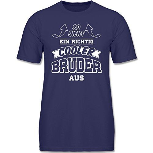 Shirtracer Geschwisterliebe Kind - So Sieht ein Richtig Cooler Bruder Aus - 116 (5-6 Jahre) - Navy Blau - F140K - Jungen T-Shirt (Lustige T-shirts Junge,)