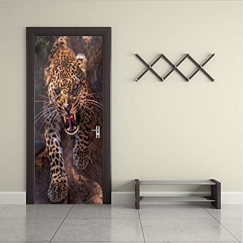 Haipeiy Türaufkleber Tier Wilder Gepard Tür Aufkleber Malerei Tapete Poster Wandaufkleber Schlafzimmer Wohnzimmer Wohnkultur 77x200 cm