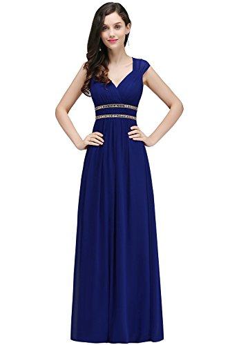 Damen Elegant Chiffon A-Linie Brautkleid Hochzeitskleid Rückenfrei maxilang Royal Blau 42