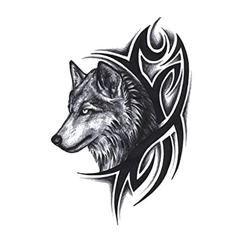 Demino Frauen Männer Wassertransfer Fake Tattoo Wolf-Kopf-Wasserdichtes temporäre Körper-Arm-Bein-Kunst-Aufkleber
