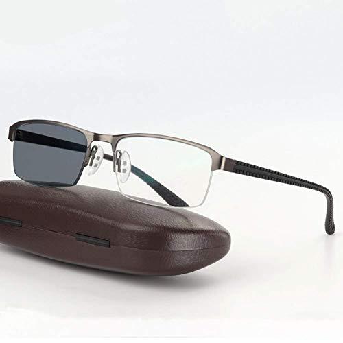 Sunglasseslife Übergang photochrome Lesebrille Leichte Legierung Rahmen UV400 Weitsichtige Sonnenbrillen +1,0 bis +4,0,Gray,+1.0