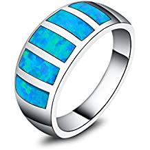 In argento Sterling 925, Opale sintetico blu intarsio–Anelli per le