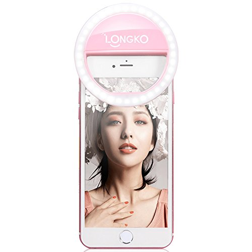 Longko  36 LED Light Ring Supplementary Selfie Lighting Night or Darkness Selfie Enhancing for Photography with iPhones and Android Smart Phones (Pink)