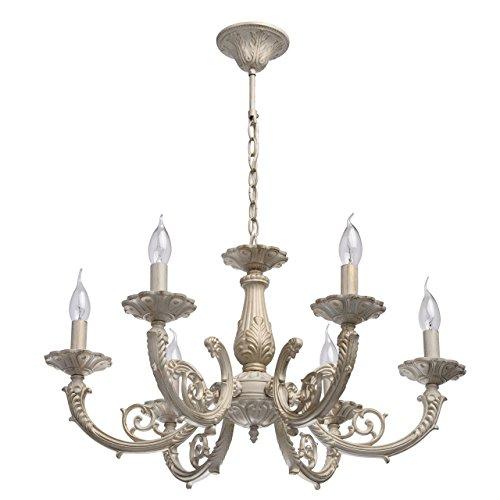 Shabby chic lampadario da soffitto decorativo tradizionale di metallo colore beige ed oro in stile barocco classico in soggiorno o camera da letto 6-bracci 6*60w e14 - escl