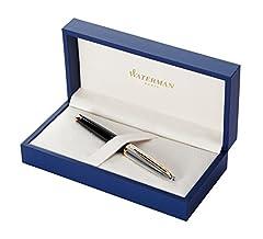 Idea Regalo - Waterman Carène penna stilografica con laccatura nera deluxe, finiture oro, pennino medio, confezione regalo