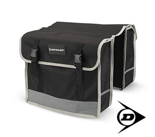 Dunlop FGT19 Doppel-Fahrradtasche Gepäckträgertasche für Rahmen, Cityrad Gepäckträger Tasche je 14,5 L Volumen, wasserdichte Radtasche , Fahrrad Seitentasche mit Clip-Verschluß, schwarz