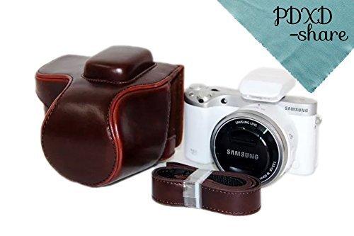 PDXD-share Kameratasche Leder Tasche für Samsung NX500 Digitalkamera (Kaffee)