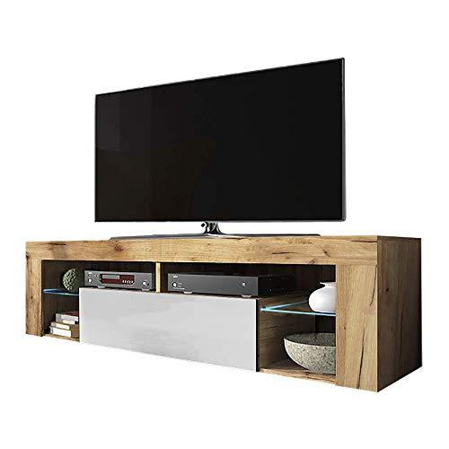 Selsey Hugo - Meuble TV/Banc TV (140 cm, Chene Lancaster/Blanc Brillant, avec LED)