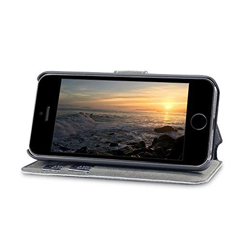 iPhone SE Cover, Terrapin Cover di Pelle con Funzione di Appoggio Posteriore per iPhone SE Custodia Pelle, Colore: Nero Funzione di Appoggio - Grigio