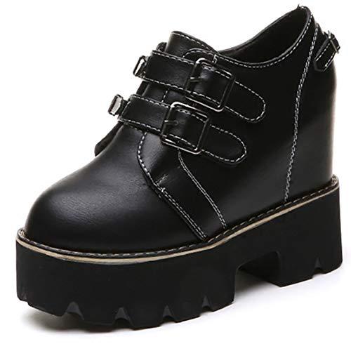 Frauen High Heels Punk Stiefeletten Schnalle Metall Dekoration Baumwollgewebe HöHe Zunehmende Plattform Keil Schuhe