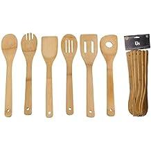 Madera de Bambú 6piezas Utensilios de cocina Herramientas Espátula Cuchara