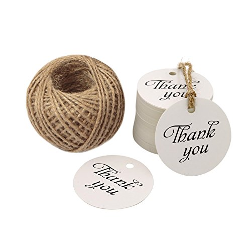 Etichette 'Thank You' (Grazie) per regalo di Natale, 5cm, decorazione da appendere, con 30m di spago di iuta White