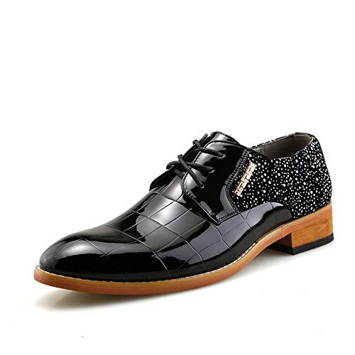 HILOTU Herren High Quality Party Hochzeit Schuhe aus echtem Leder Oxfords Lace Up Schuhe (Color : Schwarz, Größe : 43 EU) (Oxford Wingtip Schwarz)