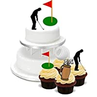 Baking Bling NOVELTY GOLF GOLFER MIXED BIRTHDAY PARTY PACK - Standups 2 Large and 12 Cupcake Edible Standup Premium Wafer Cake Toppers