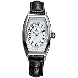 Fashion Simple Creative Rectangle Leather Strap Quartz Women Wrist Watch,White-Black