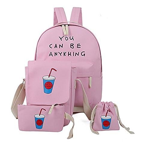 La Haute Leinwand Schule, Casual Rucksack Laptop Taschen Umhängetaschen mit Bleistift Fall rose