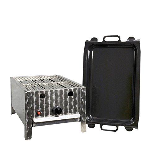 Gasgrill-Kombibräter 4 kW mit Grillrost und emaillierter Stahlpfanne 1-flammig Gasgrill Grill Gastrobräter Profigrill Verein (Freistehende Schmale Wanne)