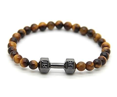 GOOD.designs Fitness Perlen-Armband aus 6 mm Tigeraugen-Natursteinen, Hantel Anhänger in