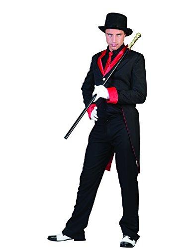 Kostüm Frack Ingo Größe 60/62 Herren Showfrack Schwarz Rot Zirkus Teufel Show Disco Glamour Karneval Fasching (Männer Zirkus Für Vintage Kostüme)