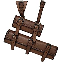 Medieval doble Espada Soporte de piel para espadas hasta 6,5cm negro o marrón Combate de exhibición Vikingo Cosplay (marrón)