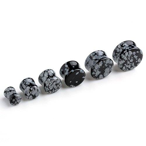 PiercingJ - 2PCS Boucles d'oreilles Pierre Obsidienne Flocon de Neige Naturel Taper Tambour Ecarteur Expandeur Tunnel Conique Flesh Plug Unisexe 6mm - 16mm Set