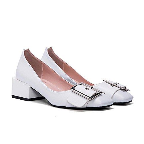 L@YC® Frauen Flache Schuhe Seitenschnalle Mit Einem Einfachen Flachen Mund Casual Sandalen Tanz Pumpe Weiß White