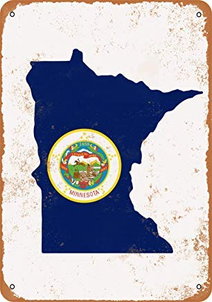 Iron Painting Signs Home Decor 7 X 10 Metal Sign Minnesota State Flag Design Vintage Look -