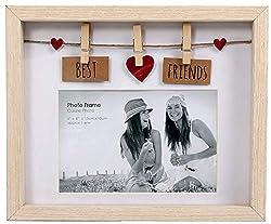 """Wäschespinne mit Wäscheklammern, Holz, für 6 X 4 Fotos, mit Aufschrift """"Best Friends"""""""