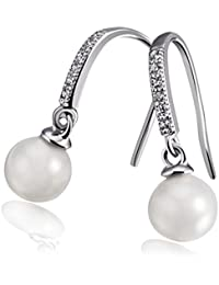 Goldmaid Women's 925 Silver Rhodium Plated Zirconia Brilliant Cut Synthetic White Pearl Pull-Through Earrings