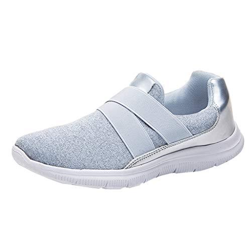 Makalon Paar Mode Freizeit Laufsport Socken Schuhe Damen Student Beiläufig Elastisch Leichtgewichtige Turnschuhe Mädchen Sport Schuhe Stiefeletten Slip On Schuhe Net Schuh (39, Grau-1)