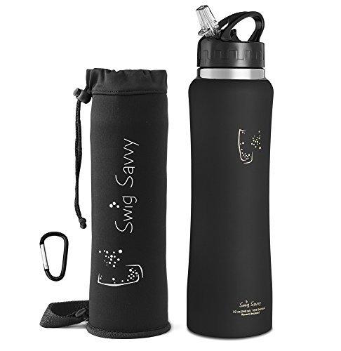 SWIG SAVVY Edelstahl Isolierter Breiter Mund Wasser Flasche Mit Lecksicherem Flip Top Strohhalmverschluss, Beutel und Clip 32Oz Schwarz (Clip-wasser-flasche)