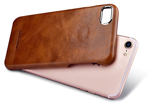Luxus Back-Cover für Apple iPhone 8 und iPhone 7 (4.7 Zoll) / Case mit Echt-Leder Außenseite / Schutz-Hülle mit Innenseite aus Kunst-Leder / ultra-slim Etui / dünne Tasche im Vintage Look / Hell-Braun Hellbraun - vintage