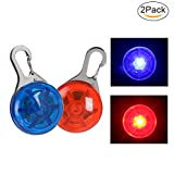 NONMON LED Clip-On Dog Cat Collar Lights, Waterproof LED Safety Light for Running Walking 2 Pack(Red+Blue)