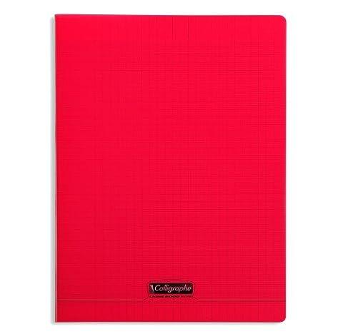 Clairefontaine 8000 POLYPRO 18193C Cahier piqué 96 pages grands carreaux couverture plastique 90 g 24 x 32 cm Rouge