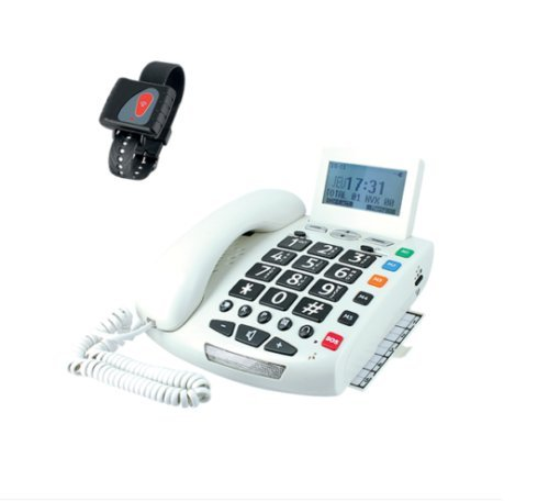 Telephone verstärkt Senior Tastatur XXL SOS Klingelton Flash mit Anruf ID Armband (Verstärkt Tastatur)