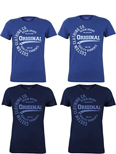 TOM TAILOR Denim Herren T-Shirt mit Frontprint im günstigen 4er Pack, Größe:S, Farbe:2X Agate Stone Blue 2X Coastal Fjord Blue