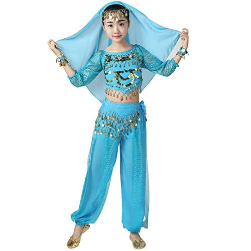 Magogo Mädchen Bauchtanz Performance Kostüm 6 Stück Kit, Shiny Party Fasching Karneval Outfit Kinder arabischen Prinzessin Indian Dance Kleidung Anzug (XL, - Arabische Dance Kostüm Kinder