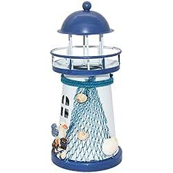 Faro de Mediterráneo Vela de Hierro Luz Lámpara de Tabla Ancla Decoración Hogar - 1