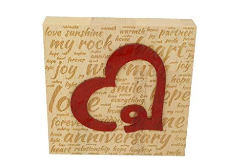 Anniversary Gifts Buchstabenkunst zum 9. Hochzeitstag, Buche, mit Acrylherz, 9 Jahre