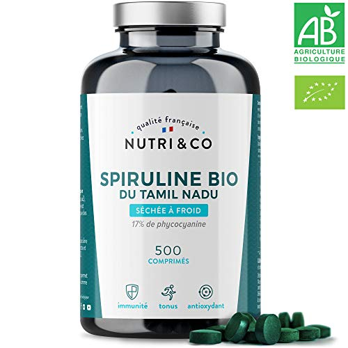 Spiruline Bio AB | 500 Comprimés de 500 mg Purs sans Excipient | 15 à 19%...