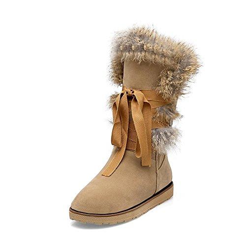 Hsxz Femmes Chaussures Flocage Automne Hiver Bottes De Neige Bottes Doublure De Fourrure Talon Bas Bout Rond Mi-mollet Bottes Pour Vêtements De Sport Gris Noir Amande Gris
