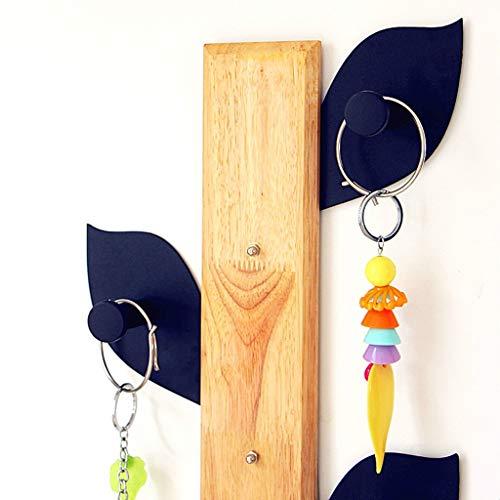 MU Hölzerne Haushalts-Aufhänger, Wand-Aufhänger, hölzerner Baum + Eisen-Blatt-Form-freier Nagel-Wand-Aufhänger Geben Sie Bohrungs-Eintritts-Kleber frei Wand, die nach der Tür hängen, hängen Sie 25 *