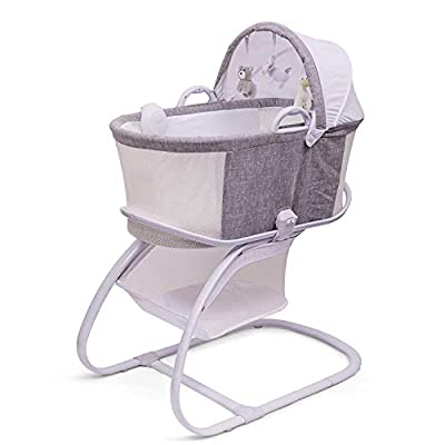 PurFlo Baby Newborn Breathable Sleeping Bassinet & Crib in Marl Grey