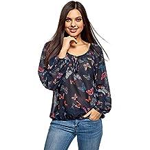 f7c112e2d oodji Collection Mujer Blusa Estampada con Lazos