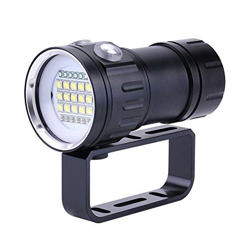 Taucherlampe, IPX8Wasserdichte 18.000LM 500m Bright Perlen Submarine Unterwasser Tauchen 80m Taschenlampe Beleuchtung Lampe Handheld Video Fotografie Taschenlampe mit Griff Halterung