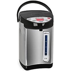 oneConcept Grand Champion - Distributeur d'eau chaude/café, Thermos 5 litres, 680W, noir/argent
