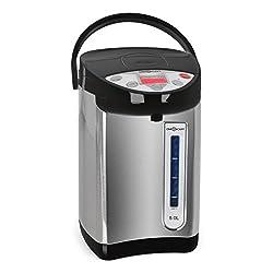 oneConcept Grand Champion - Heißwasserspender, Heißwasserbereiter, Thermo Pot, 680 W, 5 Liter, 5 Temperaturstufen: 40°C, 50°C, 60°C, 85°C, 98°C, Edelstahlkessel, schwarz-silber