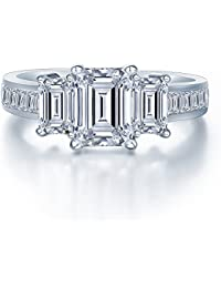 925 Sterling Silver Brilliant Emerald Cut Crystals Trilogy Love Forever Eternity Engagement Wedding Rings for women, teenage girls, Size UK M J L K N P Q R O S, with Gift Box, Ideal Gift for Ladies