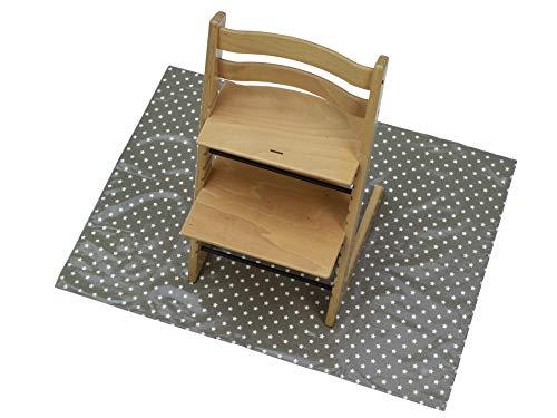 Messy Me Spritzmatte für unter den Hochstuhl - Unterlage, abwischbares Material, Baby Ernährung, Messy Spielaktivitäten, Dänisches Wachstuch. Messy Spielmatte für den Boden (olivgrau)